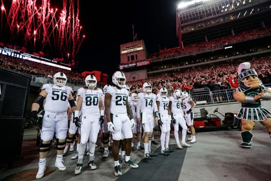Michigan State gets ready to take the field before the game against Ohio State at Ohio Stadium in Columbus, Ohio, Saturday, Oct. 5, 2019.
