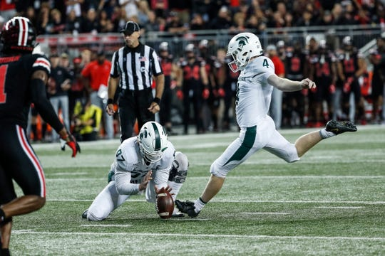 Matt Coghlin misses a field goal against Ohio State during the third quarter Saturday.