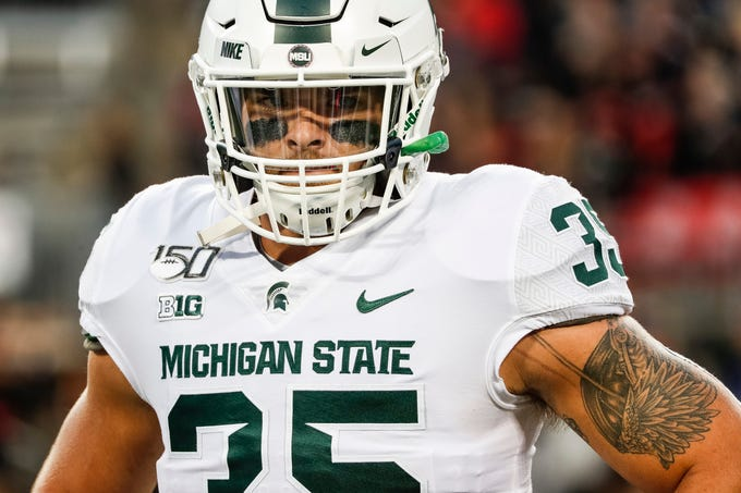 Michigan State linebacker Joe Bachie before the Ohio State game at Ohio Stadium in Columbus, Ohio, Saturday, Oct. 5, 2019.