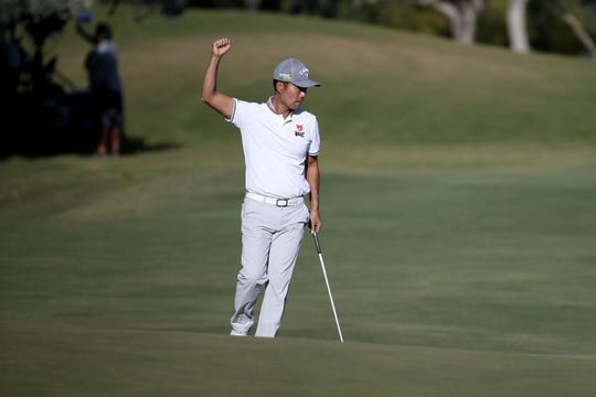 Kevin Na celebrates a birdie on the 18th hole during the second round of Shriners Hospitals for Children Open golf tournament at TPC Summerlin in Las Vegas on Friday.