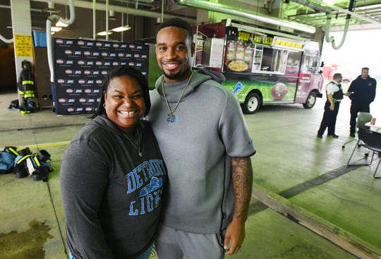 Darius Slay is pictured with his mother, Stephanie Lowe, in Detroit on Friday.