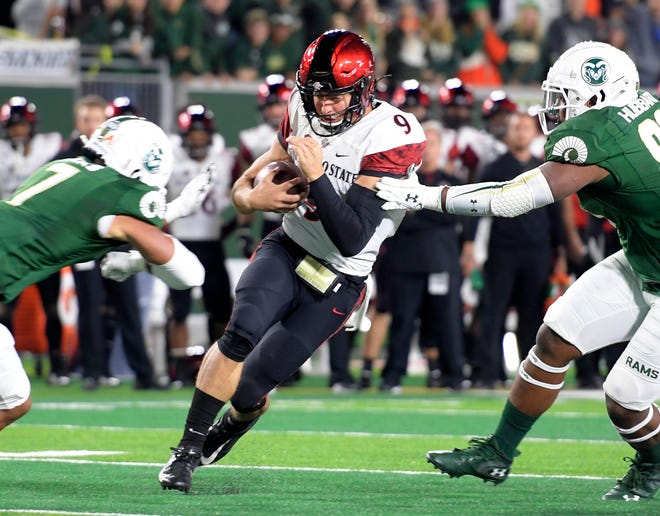 San Diego State quarterback Ryan Agnew runs for a short gain during an Oct. 5, 2019, game against Colorado State at Canvas Stadium. San Diego State moved into the Associated Press' Top 25 this week after beating UNLV on Saturday for its fourth straight victory.
