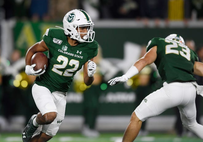 Colorado State Rams wide receiver Dante Wright (22) runs the ball in the second quarter of the game at Canvas Stadium at Colorado State University in Fort Collins, Colo. on Saturday, Oct. 5, 2019.