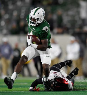 Colorado State Rams wide receiver Nate Craig-Myers (4) runs the ball in the fourth quarter of the game at Canvas Stadium at Colorado State University in Fort Collins, Colo. on Saturday, Oct. 5, 2019.