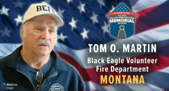 Former Black Eagle fire Chief Tom O.  Martin was among firefighters honored Sunday the 38th National Fallen Firefighter Memorial Service ceremony in Maryland.