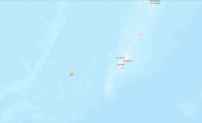 A 4.9 magnitude earthquake struck about 90.7 miles west of Merizo with a depth of 128.4 miles on Oct. 7, 2019.