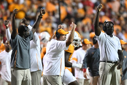 Tennessee coaches gesture to the field during a game between Tennessee and Georgia in Neyland Stadium in Knoxville, Tennessee on Saturday, October 5, 2019.