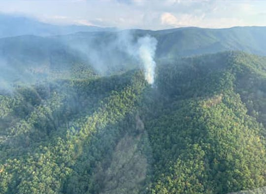 Sevier County emergency agencies are working to contain a brush fire in a remote area of Pigeon Forge. The fire started on Saturday, Oct. 5, 2019.