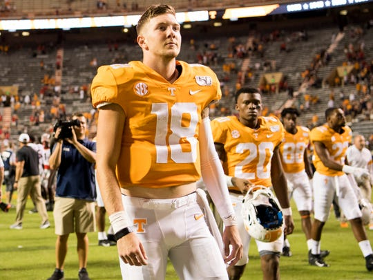 Tennessee quarterback Brian Maurer (18) walks back to the locker room after TennesseeÕs game against Georgia in Neyland Stadium on Saturday, Oct. 5, 2019.