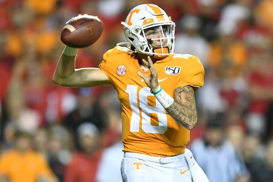 Tennessee quarterback Brian Maurer (18) throws a pass during a game between Tennessee and Georgia in Neyland Stadium in Knoxville, Tennessee on Saturday, October 5, 2019.