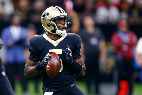 New Orleans Saints quarterback Teddy Bridgewater drops back to pass in the first half of an NFL football game against the Tampa Bay Buccaneers in New Orleans, Sunday, Oct. 6, 2019. (AP Photo/Butch Dill)
