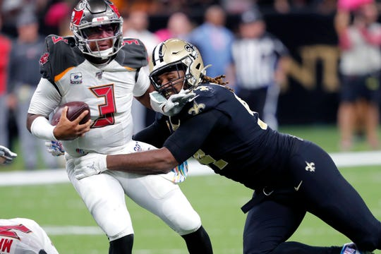 New Orleans Saints defensive end Cameron Jordan (94) sacks Tampa Bay Buccaneers quarterback Jameis Winston (3) in the second half of an NFL football game in New Orleans, Sunday, Oct. 6, 2019. The Saints won 31-24.