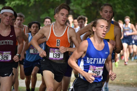 Brighton's Jack Spamer (139) broke the Livingston County boys cross country record with a time of 15:02.7 at the Portage Invitational on Saturday, Oct. 5, 2019.