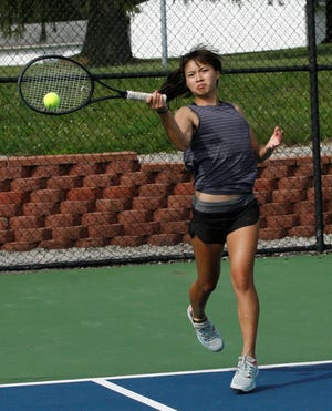 Lexington sophomore Gracie Pfieffer, shown in a match earlier this season, did not lose a game in four matches in winning a Division II sectional singles championship Saturday.