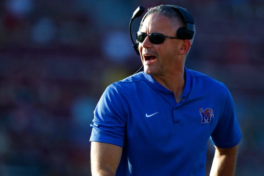 Memphis Head Coach Mike Norvell yells out to his team during their game against ULM at Malone Stadium in Monroe, La on Saturday, Oct. 5, 2019.