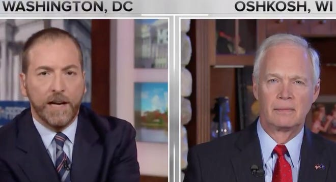 "U.S. Sen. Ron Johnson, right, had a heated exchange with ""Meet the Press"" host Chuck Todd, left, on Sunday, Oct. 6, 2019."