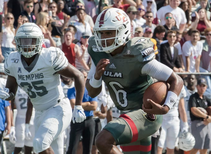 University of Louisiana at Monroe's Caleb Evans (6) carries the ball during the game against Memphis at Malone Stadium in Monroe, La. on Oct. 5. Memphis would win 52-33.