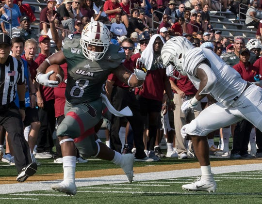 ULM running back Josh Johnson's (8) 712 rushing yards and six touchdowns leads the Sun Belt Conference and ranks seventh overall in FBS. He's topped 100 yards rushing in four of six games this season.