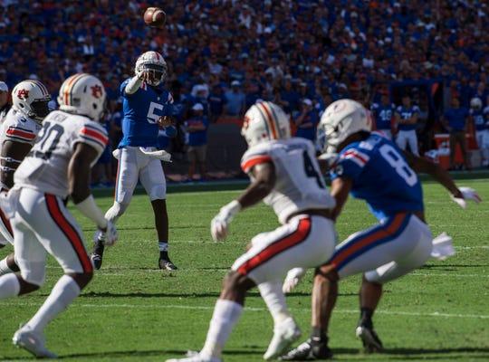 Florida quarterback Emory Jones (5) throws the ball at Ben Hill Griffin Stadium in Gainesville, Fla., on Saturday, Oct. 5, 2019. Florida defeated Auburn 24-13.