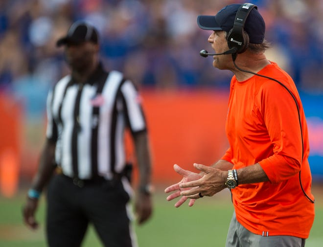 Auburn defensive coordinator Kevin Steele yells from the sideline at Ben Hill Griffin Stadium in Gainesville, Fla., on Saturday, Oct. 5, 2019. Florida defeated Auburn 24-13.
