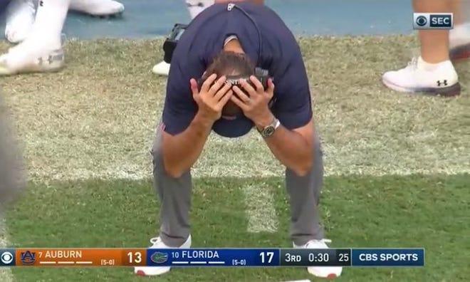 Auburn coach Gus Malzahn after Bo Nix's third-quarter interception on Saturday at Florida.