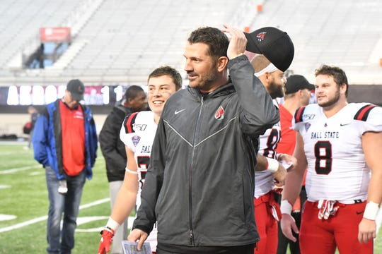 FILE -- Ball State head coach Mike Neu after he helped guide the Cardinals to a win against Northern Illinois.