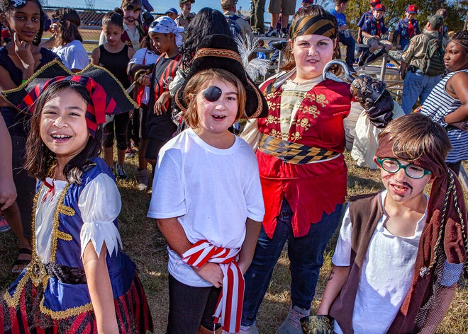 Members of the Roy Waldron Drama Team Vanneath Chan, Sadie Burgess, Lessleigh Kelly and Micah Lewelling at the La Vergne Old Timers Festival on Saturday, Oct. 5, 2019.