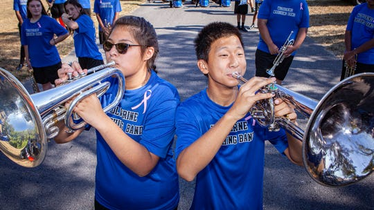 LHS band section leader Stephanie Cruz and Aermon Hanna at the La Vergne Old Timers Festival on Saturday, Oct. 5, 2019.