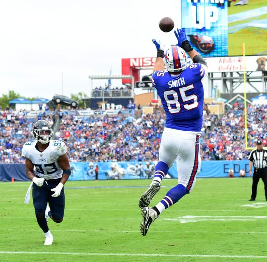 Buffalo Bills tight end Lee Smith (85) hauls in a touchdown catch during the first half of the game at Nissan Stadium Sunday, Oct. 6, 2019 in Nashville, Tenn.