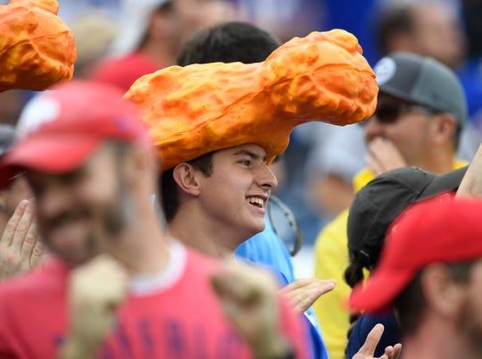 Buffalo Bills fans cheer during the game at Nissan Stadium Sunday, Oct. 6, 2019 in Nashville, Tenn.