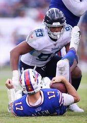 Reggie Gilbert (93), linebacker -- Gilbert (93) sacks Buffalo Bills quarterback Josh Allen (17) during the fourth quarter of the game at Nissan Stadium Sunday, Oct. 6, 2019 in Nashville, Tenn.