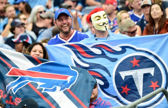 Tennessee Titans and Buffalo Bills fans show their spirit during the game at Nissan Stadium Sunday, Oct. 6, 2019 in Nashville, Tenn.