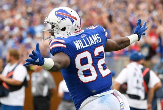 Buffalo Bills receiver Duke Williams celebrates his touchdown during the fourth quarter of the game at Nissan Stadium Sunday, Oct. 6, 2019 in Nashville, Tenn.