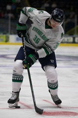 Florida Everblades' Tanner Jeannot moves the puck as his team take on the Orlando Solar Bears during a preseason game, Saturday, Oct. 5, 2019, at Hertz Arena in Estero.