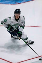 Florida Everblades's Tanner Jeannot controls the puck during his team's preseason game against the Orlando Solar Bears, Saturday, Oct. 5, 2019, at Hertz Arena in Estero.