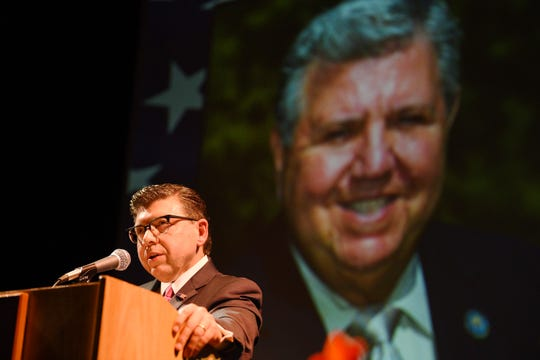 Assemblyman Anthony M. Bucco speaks about his father during a public remembrance of the life of state Sen. Anthony R. Bucco, held at County College of Morris in Randolph on 10/09/19.  The Senator died Sept. 16 at 81 years old.