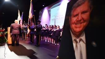 Senate President Stephen Sweeney and former Gov. Chris Christie were among the speakers at a public memorial for Sen. Anthony Bucco. Oct. 6, 2019.