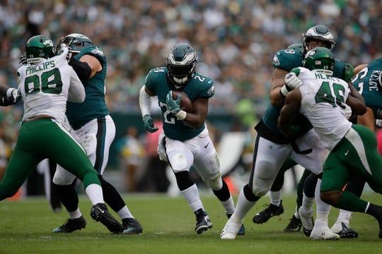 Philadelphia Eagles' Jordan Howard rushes during the second half of an NFL football game against the New York Jets, Sunday, Oct. 6, 2019, in Philadelphia. (AP Photo/Matt Rourke)