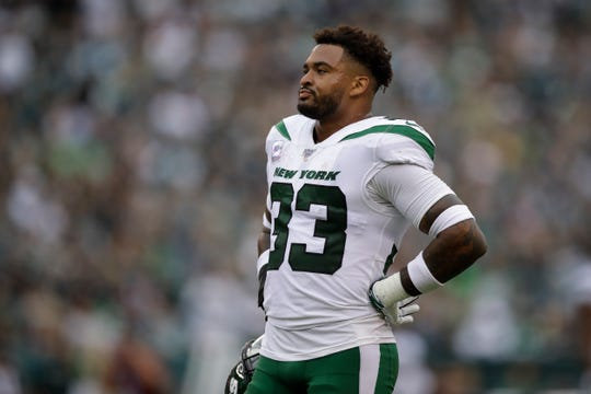 New York Jets' Jamal Adams looks on during the first half of an NFL football game against the Philadelphia Eagles, Sunday, Oct. 6, 2019, in Philadelphia. (AP Photo/Matt Rourke)