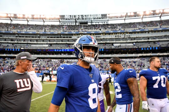 New York Giants quarterback Daniel Jones (8) walks off the field after his first loss. The New York Giants lose to the Minnesota Vikings, 28-10, in NFL Week 5 on Sunday, Oct. 6, 2019, in East Rutherford.