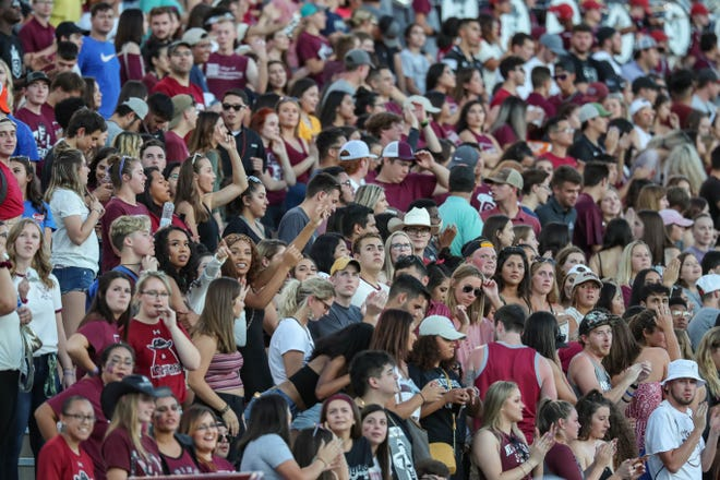 The New Mexico State University Aggies face off against the Liberty University Flames at Aggie Memorial Stadium in Las Cruces on Saturday, Oct. 5, 2019.