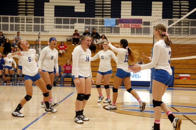 Harmony Lopez (14) and the rest of the Carlsbad Cavegirls reacts to a massive spike by by Gracie Eckles (right) in their match against Chaparral on Oct. 5, 2019. Carlsbad won in straight sets, giving Hannah Hamblin her first win as a high school coach.