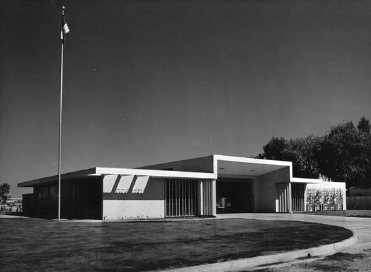 Fire station at Ramon Road and Sunrise WAydesigned by John Porter Clark in the 1960s where the Mizell Senior Center stands.
