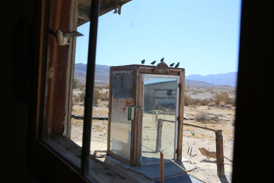 Laurel Seidl, owner of The Glass Outhouse Art Gallery, gives a tour of her property and gallery in Twentynine Palms, Calif., on Saturday, October 5, 2019 as part of the Highway 62 Open Studio Art Tours.