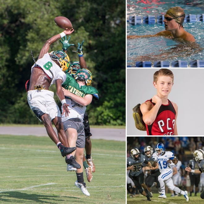Catholic's Damarius McGhee (left), Pace's James Tracey (top right), Pensacola Christian's Jonathan Tutton (middle right) and Washington's De'Andrea Smiley (bottom right) are candidates for PNJ Athlete of the Week.