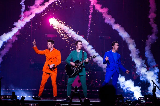 The Jonas Brothers perform at Talking Stick Arena on Oct. 5, 2019 in Phoenix.