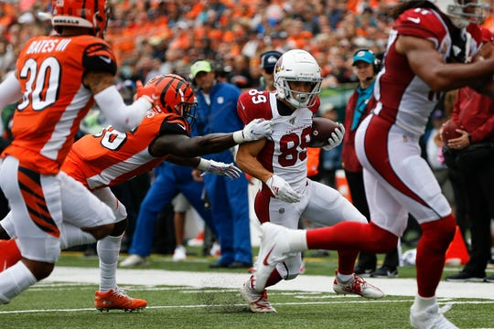 Cardinals receiver Andy Isabella carries the ball against the Bengals during a game Oct. 6.