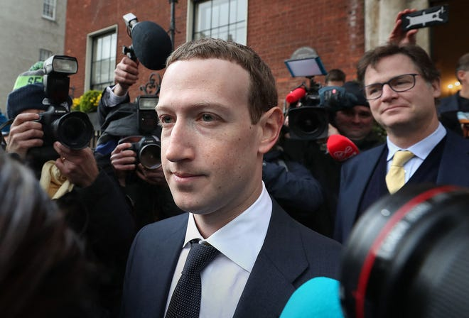 Facebook CEO Mark Zuckerberg leaves The Merrion Hotel in Dublin after a meeting with politicians to discuss regulation of social media and harmful content on April 2, 2019. (Niall Carson/PA Wire/Abaca Press/TNS)