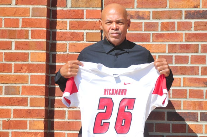 Vince Allen's jersey was added to the exterior of Civic Hall at Richmond High School last week for his past and present contributions to the football program.