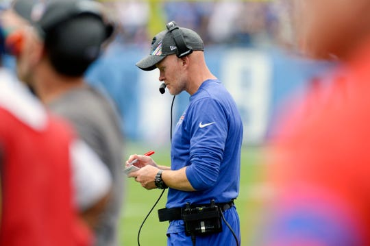 Buffalo Bills head coach Sean McDermott watches from the sideline in the first half of an NFL football game against the Tennessee Titans on Sunday, Oct. 6, 2019, in Nashville.